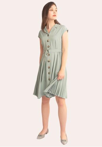L'zzie 綠色 LZZIE MALIN连衣裙-绿色 B2E2CAA3B6C034GS_1