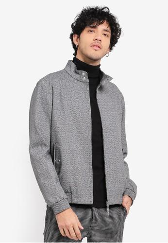 Topman grey Grey Salt And Pepper Textured Harrington Jacket TO413AA0SR8SMY_1
