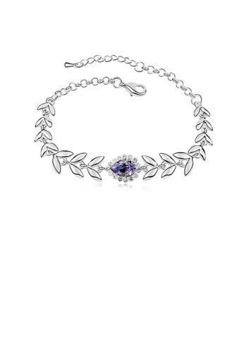Glamorousky white Fashion Horoscope Bracelet with Purple Austrian Element Crystal 48A60AC489CB2CGS_1