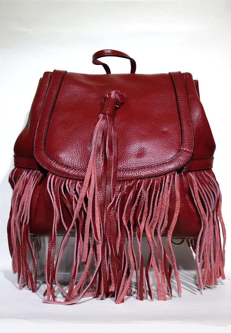Leather Fringe Backpack Shoulder Bag
