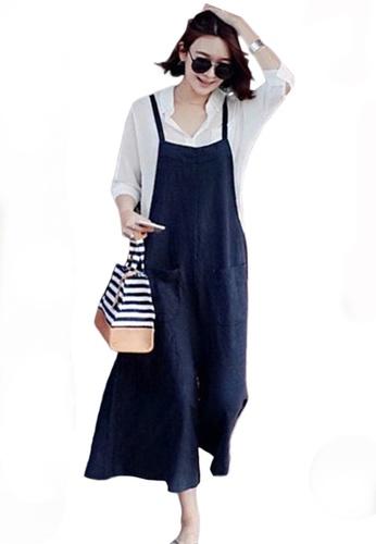 Sunnydaysweety blue Cotton Linen Wide-Leg Jumpsuit A21031914BL 041F2AA4B02A2EGS_1