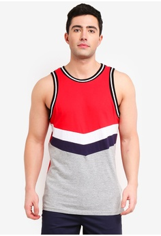 6fc1a30fb6c0 Factorie grey and white and multi Colour Block Tank Top CFB18AA7AD7DD7GS_1