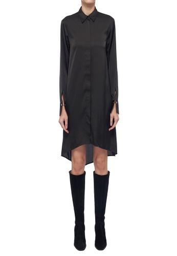 CK CALVIN KLEIN black Lightweight Charmeuse Shirt Dress D7004AA260AD34GS_1