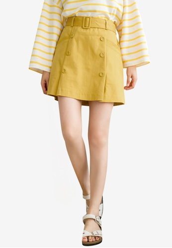 Tokichoi yellow Belted Button Detailed Skirt B37AEAA955386CGS_1