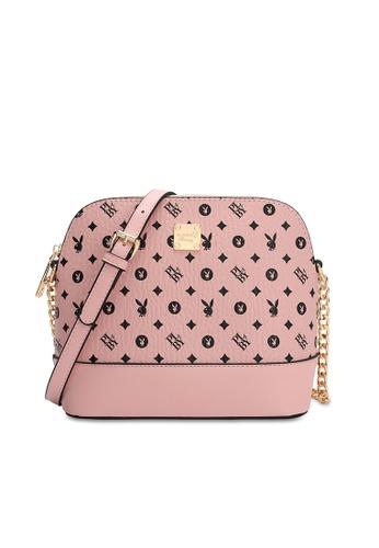 PLAYBOY BUNNY pink Logo Sling Bag FDBEDACFF0F448GS_1