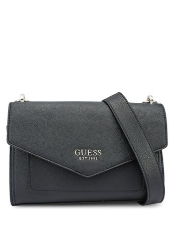 Guess black Georgiana Crossbody Flap Bag 7B240AC092E820GS_1