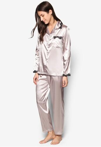 綢緞睡衣套裝, 服飾, 睡衣zalora 台灣門市套裝