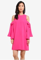 River Island pink Bright Pink Cold Shoulder Swing Dress RI009AA0SCTYMY_1