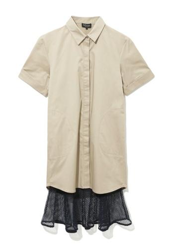 tout à coup beige Layered mesh hem shirt dress 29912AA41B2279GS_1