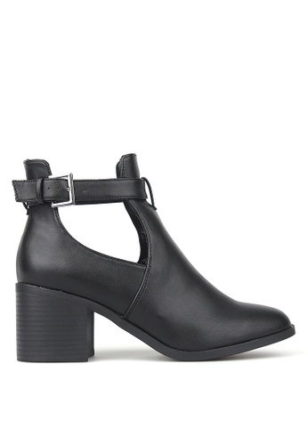Betts black Divergent Cut-Out Buckle Ankle Boots 48BB9SH4217DBCGS_1