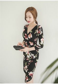 ef8c39168725 Crystal Korea Fashion Autumn New Long Slim Print Dress HK  338.00