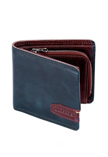 ENZODESIGN red and navy Top Grain Leather Sporty Wallet With Zip Coin Compartment A9089AC5351944GS_1