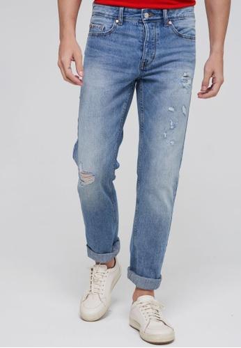 United Colors of Benetton 藍色 刷色設計休閒牛仔褲 68995AAF9CE345GS_1