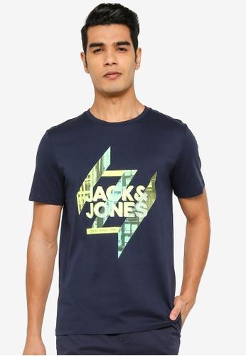 Jack & Jones navy Short Sleeve Print T-Shirt 91593AAA304C23GS_1