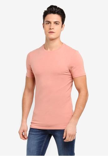 Burton Menswear London 橘色 素色修身圓領T恤 8AE10AA5F60F87GS_1