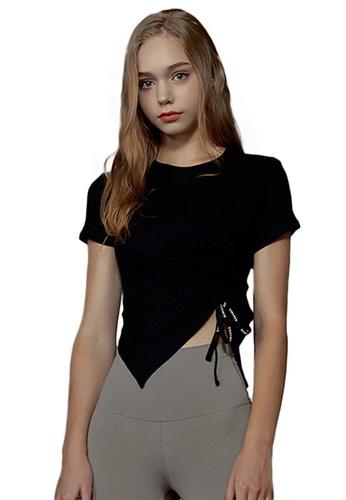 Sunnydaysweety black Short Sleeve Irregular Hem Outdoor Sports Fitness T-Shirt A21031710BK 5A9F9AA4DEF849GS_1