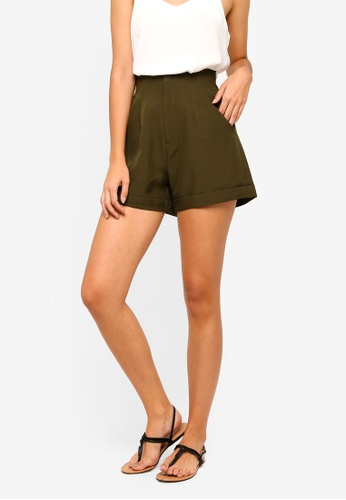 ZALORA green Folded Hem High Waisted Shorts 6149FAA580DEBFGS_1