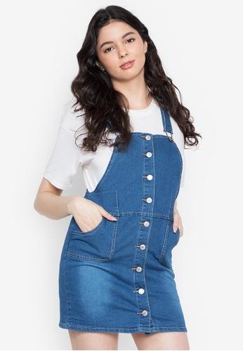 Ninety Nine Point Nine Boutiq blue Classic Full-Button Denim Overall Dress Skirt 70229AAB10376EGS_1