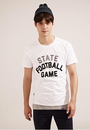 Life8 white Casual American Football Crew Neck T-Shirt - 03783 - White LI283AA14TEBSG_1