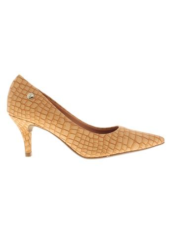 Beira Rio beige Pointed Croco Design Kitten Heeled Shoes BE995SH19ZKYHK_1