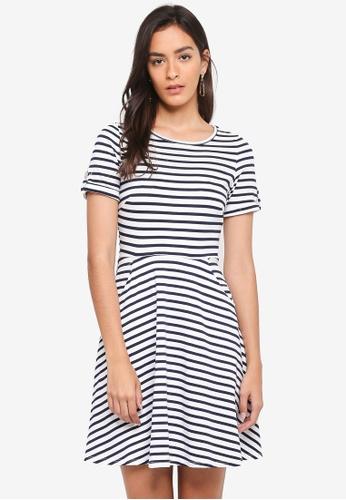 Dorothy Perkins white Ivory Stripe T-Shirt Dress ACCD1AAE6B652CGS_1