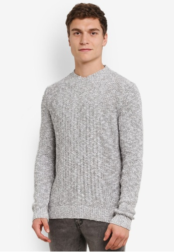 MANGO Man grey Knit Cotton Sweater MA449AA0S37YMY_1