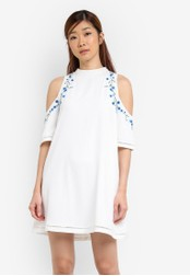 Something Borrowed white Embroidered Cold Shoulder Dress 06533AA48EDC9EGS_1
