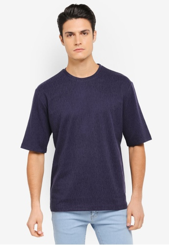 ZALORA blue Textured Knit Boxy Tee A2A10AAB234498GS_1