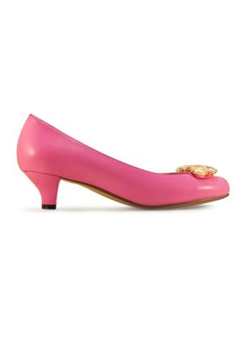 Gripz pink Wink Crystal Embellished Round Toe Low Heels GR357SH0GUN2SG_1