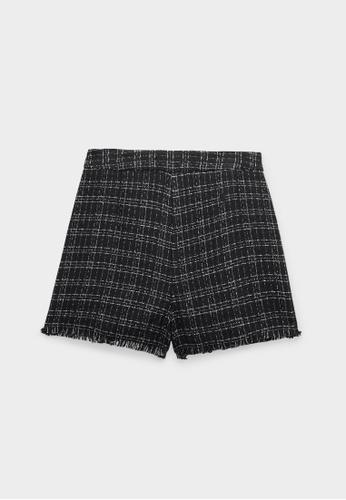 Pomelo black High Waisted Frayed Hem Tweed Shorts - Black 31B7AAAD05A994GS_1