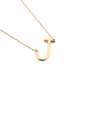 Glamorousky silver Simple and Fashion Plated Gold English Alphabet J 316L Stainless Steel Pendant with Necklace EDC2FAC102B702GS_1