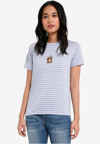Penshoppe blue Relaxed Fit Tee With Embroidery 95E34AA65DE361GS_1