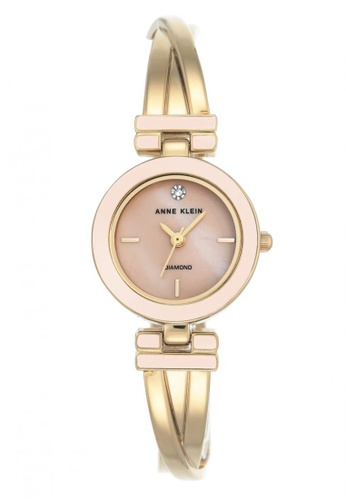 Anne Klein pink and gold Anne Klein Women's AK-2622LPGB Diamond-Accented Gold-Tone Crossover Bangle Watch AN844AC0S7GJMY_1