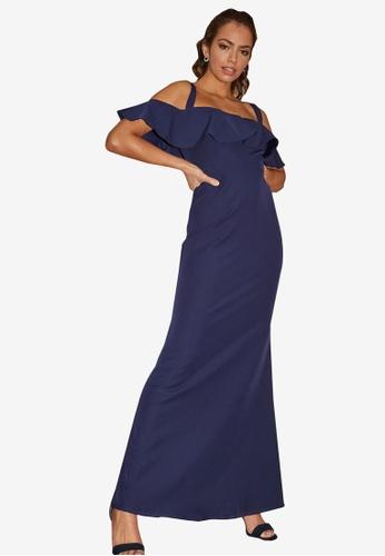 Little Mistress navy Navy Fishtail Maxi Dress FCC5BAA2BE9EC0GS_1