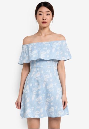 Something Borrowed blue Off Shoulder Dress 907D4AAB9395AFGS_1