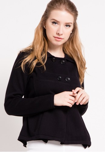 Noir Sur Blanc black Ladies Cardigan With Button NO321AA51DQEID_1