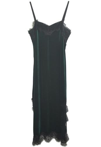 ZITIQUE black Gold Velvet Suspender Sleepwear-Black 76EEFUS9564DA0GS_1