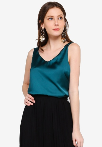 FORCAST green Cataleya V-Neck Top DD314AA3D77A70GS_1