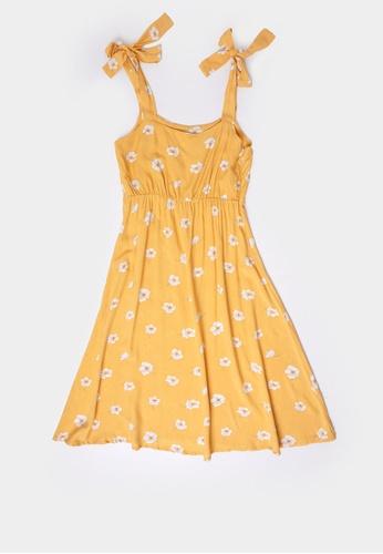 Penshoppe yellow Women's Floral Print Dress 1D297AAA63BF1CGS_1