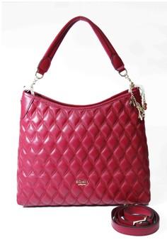 BONIA Full Leather Medium Calista 2 Strap Zip Red Tote