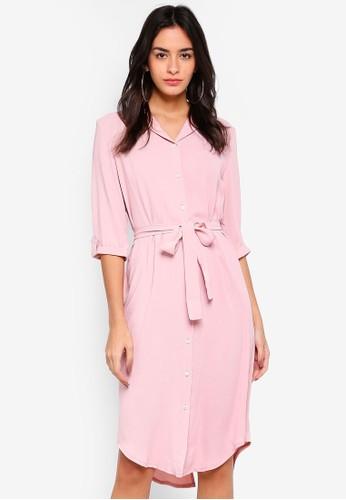 MISSGUIDED pink Tie Belt Midi Shirt Dress D7A26AA1719002GS_1