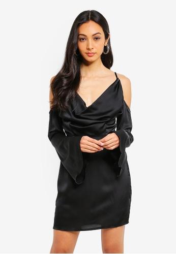 281349c3f7 Shop MISSGUIDED Satin Cold Shoulder Cowl Mini Dress Online on ZALORA  Philippines