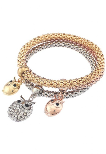 LOVENGIFTS multi and silver and gold LOVENGIFTS Owl Bracelet 3 Piece Set LO429AC02TYNMY_1