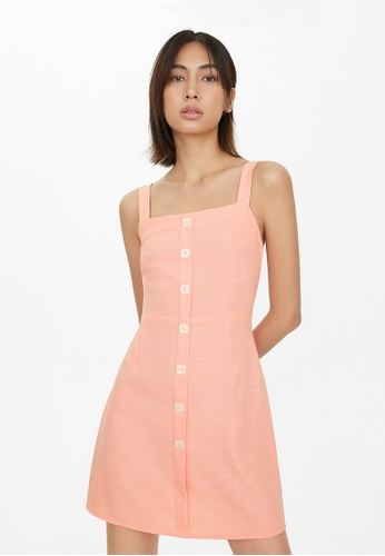 Pomelo orange Square Button Up Detail Dress - Peach B5688AA62D1062GS_1