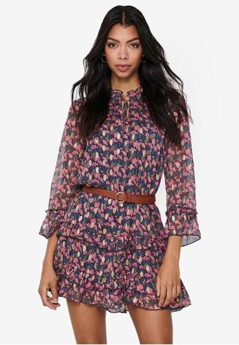 JACQUELINE DE YONG navy Selina Short Foil Dress C4365AA24760D1GS_1