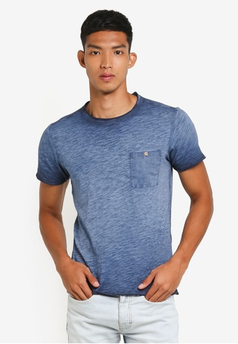 !Solid navy Numair Washed Pocket T-Shirt AC9E6AA77B9714GS_1