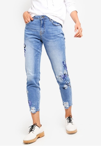 OVS blue Girlfriend Fit Worn Effect Jeans With Embroideries 7A06AAA5773EAFGS_1