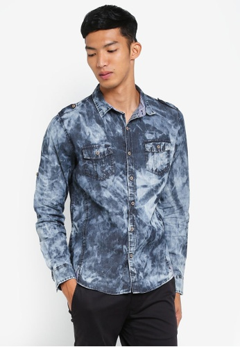 Fidelio grey Acid Wash Denim Shirt 10786AA37B2D31GS_1