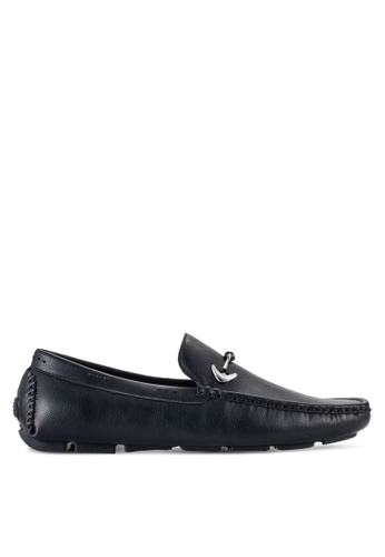 UniqTee black Driving Moccasins With Hardware Detail UN097SH86RQJMY_1