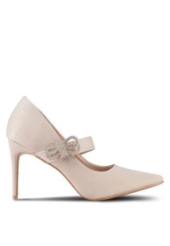 Velvet beige Bow Detail Embellished Heels C26E6SHC6EC8D7GS_1